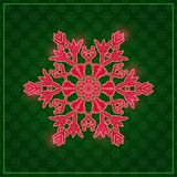 Detailed Snowflake on Dark Green Background