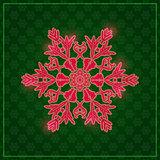 Detailed Snowflake on Dark Green Background