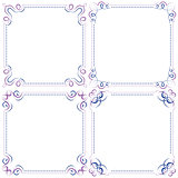 set Multilayer vector violet blue elegant frame