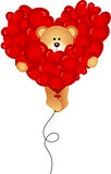 Teddy bear flying with heart balloon