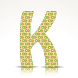The letter K of the alphabet made of Kiwi