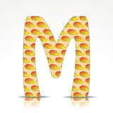 The letter M of the alphabet made of Mango