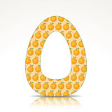The letter O of the alphabet made of Orange