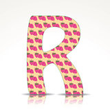 The letter R of the alphabet made of Raspberries