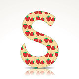 The letter S of the alphabet made of Strawberry
