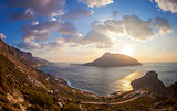 View from top of a hill at sunset, Kalymnos island, Greece