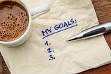 my goals list on napkin