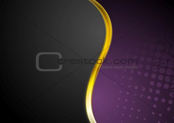 Grunge background and gold wave design