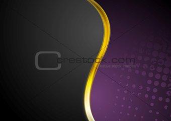 Grunge background and gold wave design