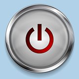 Realistic steel metal power button web design