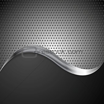 Abstract perforated metal background and steel wave