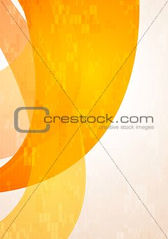 Abstract tech wavy orange background