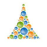 Creative concept fir tree from Christmas balls