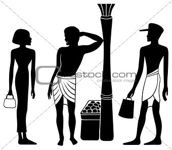 Ancient Egyptian-Greek market meeting silhouette