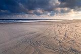 sunrise over North sea sand beach