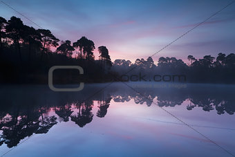 autumn sunrise over wold lake in forest
