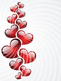 Red heart shapes on white background to the Valentine's day.