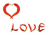Heart and word Love composed of red chili peppers