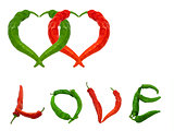 Two hearts and word Love composed of green and red chili peppers
