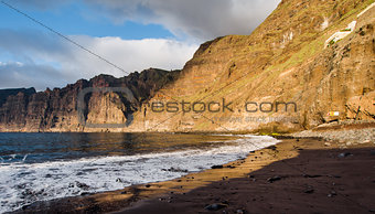 Cliffs of Los Gigantes at sunset. Canary Island, Tenerife. Spain