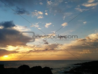 Beautiful sunset over the Atlantic Ocean