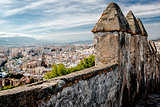 Part of Gibralfaro fortress (Alcazaba de Malaga) and view of Malaga city