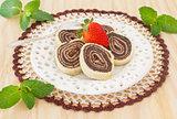 Bolo de rolo (swiss roll, roll cake) Brazilian chocolate dessert