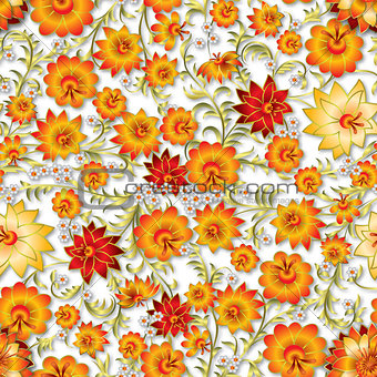 abstract seamless floral ornament and shadows
