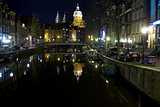 Night view of Amsterdam Netherlands