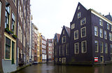 rainy day one of canal in Amsterdam