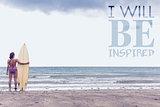 Composite image of calm woman in bikini with surfboard on beach