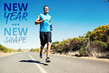 Composite image of athletic man jogging on open road holding bottle