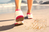 Composite image of fit woman walking on the beach