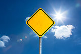 Composite image of yellow sign