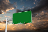 Composite image of green billboard sign