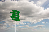 Composite image of green signpost