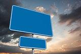 Composite image of blue billboard
