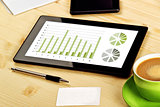 Business Analysis, Digital Tablet with Financial Charts