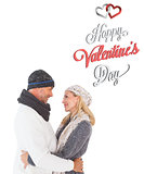 Composite image of cute valentines couple