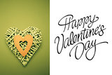 Composite image of wicker heart ornament with green paper cut out