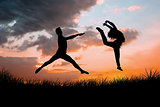 Composite image of male ballet dancer jumping