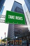 Take risks against skyscraper in city
