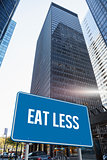 Eat less against skyscraper in city