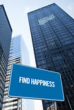 Find happiness against low angle view of skyscrapers