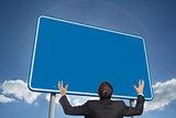 Composite image of gesturing businessman