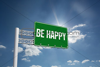 Be happy against cloudy sky with sunshine