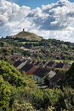 Beautiful landscape view of Glastonbury Tor on Summer day