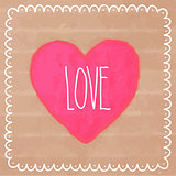 Pink watercolor heart on cardboard