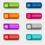Colored set rectangular square web buttons