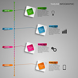Time line info graphic colored square light template